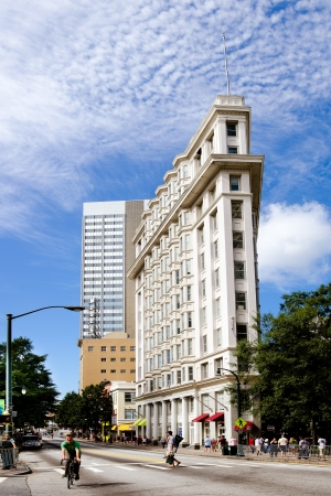 atlanta tourism: ATLANTA, Sept. 1, 2012: View of the Flatiron Building on Peachtree Street in downtown Atlanta on Sept. 1, 2012. The landmark was completed in 1897 and is the citys oldest standing skyscraper.