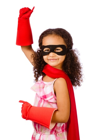 curly hair child: Portrait of pretty mixed race African American girl pretending to be a hero Stock Photo