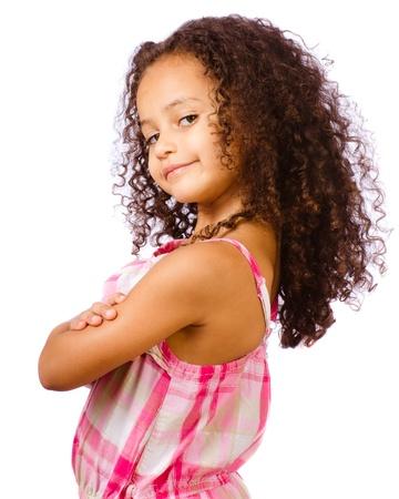 Portret van mooie Afro-Amerikaanse halfbloed kind tegen een witte achtergrond Stockfoto