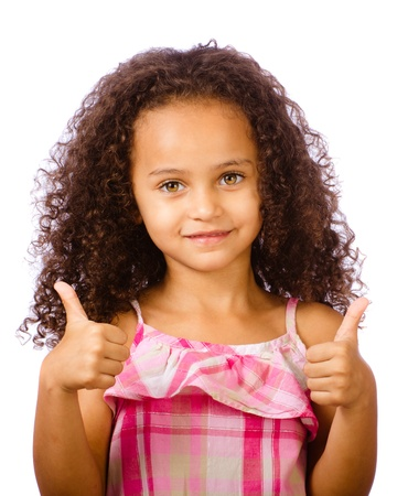 little black dress: Portrait of pretty African-American mixed race child giving thumbs up against white background