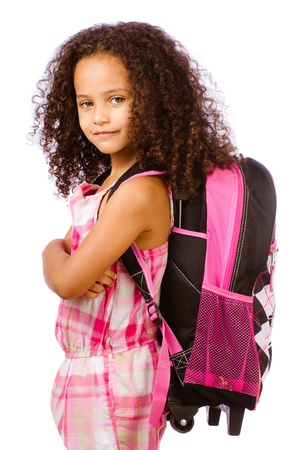 child model: Mixed race African American girl wearing backpack for school against white background