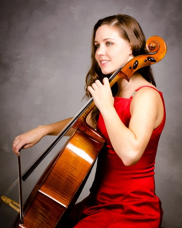 violins: Young woman cello player