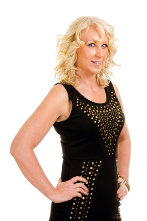 Portrait of pretty middle-aged woman in her 40s dressed for party or night out on the town  photo