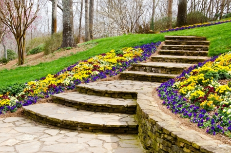 decor residential: Steps leading to garden