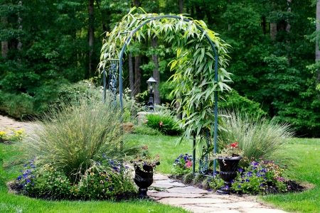 entrance arbor: Garden arbor leading to forest path Stock Photo