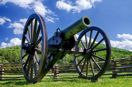 ordenanza: Ca��n era de la Guerra Civil con vistas Parque Kennesaw Mountain National Battlefield Foto de archivo