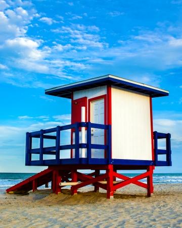 cocoa beach: Colorful lifeguard tower at Cocoa Beach, Florida Stock Photo