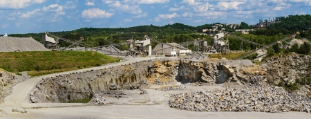 Panoramic image of rock quarry