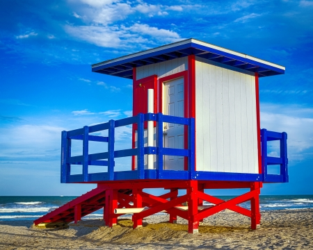 Colorful lifeguard tower at Cocoa Beach, Florida photo