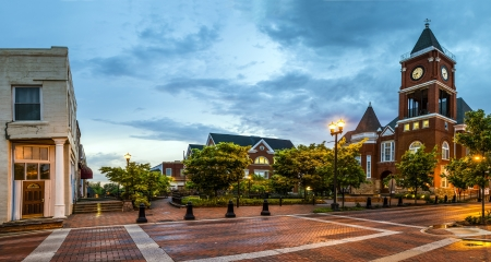 Panoramic view of town square in Dallas, Georgia, after sunset Stock Photo