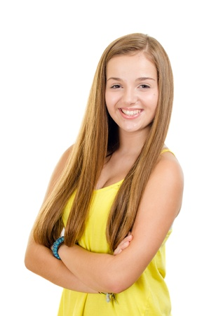 pre teen girl: Portrait of pretty, teen girl smiling isolated on white