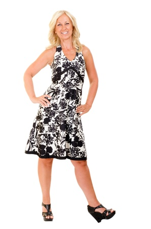 middle aged woman: Portrait of happy middle aged woman wearing summer dress