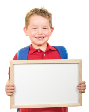 holding blank sign: Back to school education concept with child wearing backpack and holding sign isolated on white Stock Photo