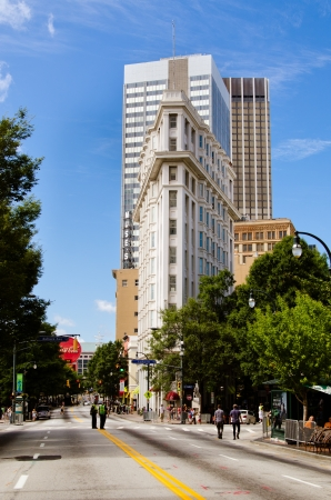 venerable: ATLANTA-SEPT  1  View of the Flatiron Building on Peachtree Street in downtown Atlanta on Sept  1, 2012  The landmark was completed in 1897 and is the city s oldest standing skyscraper