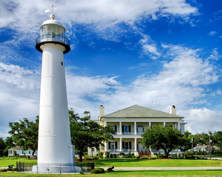 Historic lighthouse landmark and welcome center in Biloxi, Mississippi Stock Photo