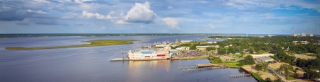 mississippi: Biloxi, Mississippi back bay with casinos and other buildings in panoramic image Stock Photo
