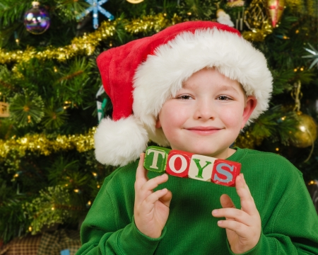 Christmas portrait of happy child wearing Santa hat in front of Christmas tree holding blocks that spell out toys photo