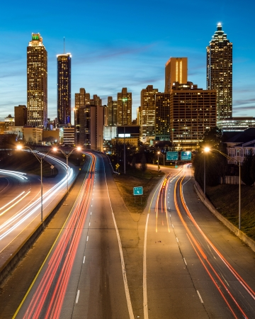atlanta: Atlanta downtown skyline during twilight blue hour