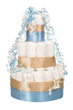 Diaper cake for baby shower isolated on white Stok Fotoğraf