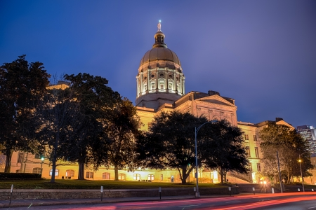 Georgia state capitol building in Atlanta at night photo