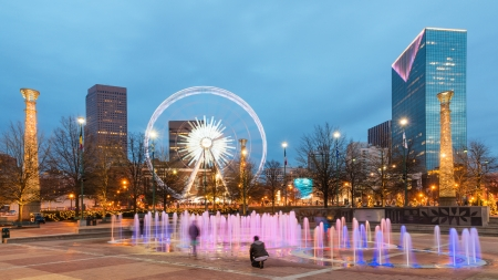 Centennial Olympic Park in Atlanta at night