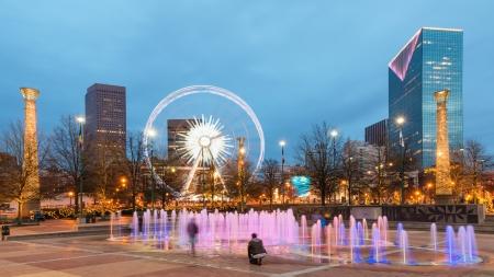 Centennial Olympic Park in Atlanta in de nacht Stockfoto