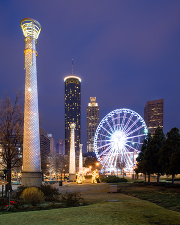 Centennial Olympic Park in Atlanta at night 版權商用圖片 - 24807120