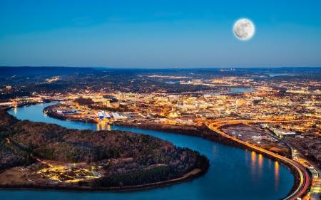 Chattanooga stad in bij nacht gezien vanaf Lookout Mountain Stockfoto