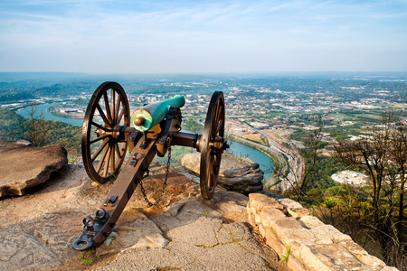 Civil war era cannon overlooking Chattanooga, Tennessee, from Point Park on Lookout Mountain