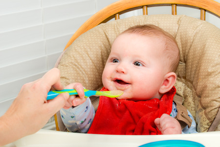 6 9 months: Baby eating homemade organic pureed food from spoon