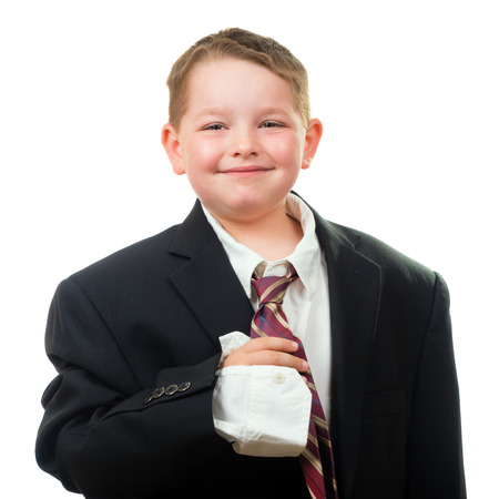 man s: Happy child wearing suit that is too big for him Stock Photo