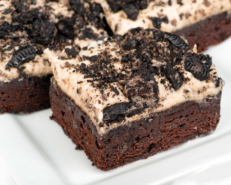 Cookies and cream brownies with topping made from Oreo cookies photo