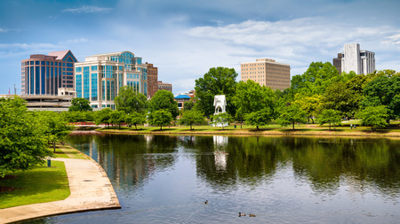 american city: Cityscape scene of downtown Huntsville, Alabama, from Big Spring Park