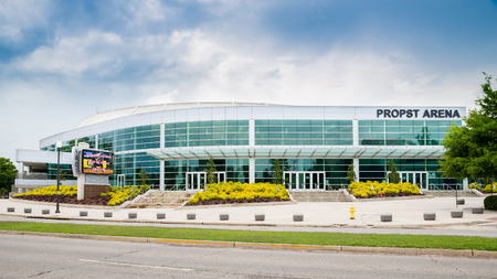 HUNTSVILLE, AL - May 29, 2014  Front side of Propst Arena in downtown Huntsville, AL, on May 29, 2014