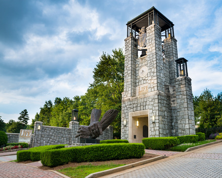 MARIETTA, GA - AUG 2, 2014  Bell tower at entrance to Life University, a school that specializes in chiropractic and health services education, in Marietta, Ga , on Aug  2, 2014