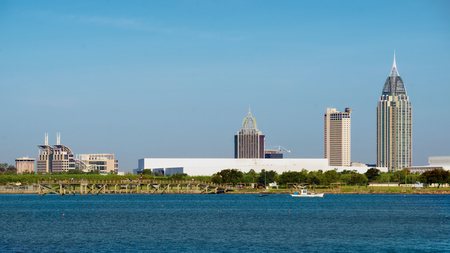 alabama state: Mobile, Alabama, skyline on Mobile Bay Stock Photo