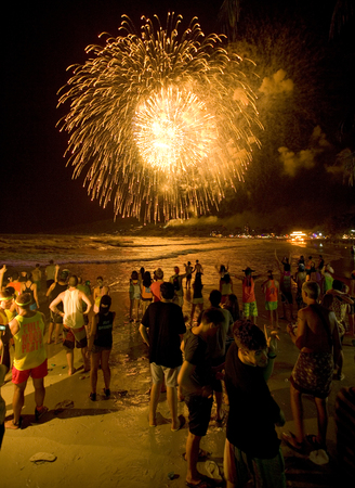 revellers: Full Moon Party, New Years Eve, Haad Rin, Koh Phanan, Thailand g
