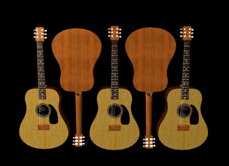 5 Beautiful New Guitars on Black Background - Eye Catching Guitar Art
