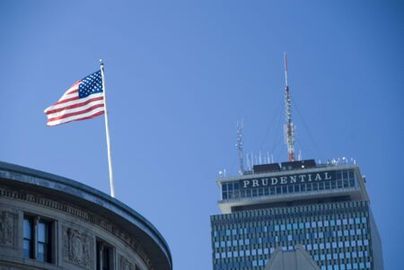 prudential: Prudential Center in the background, with the Stars and Stripes flying in the foreground
