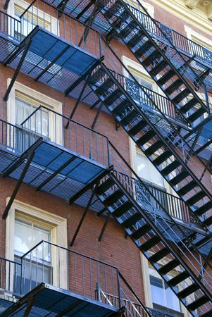 Iron Fire Escape Stairs in the Beacon Hill area of Boston Stock Photo - 756681