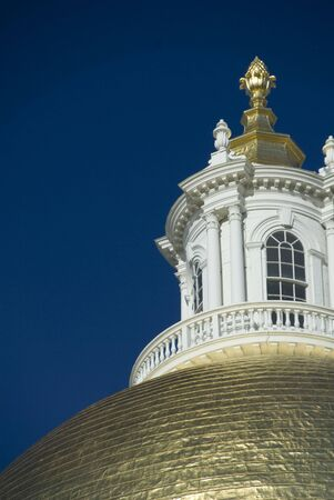 Detail of the gilded dome of the Massachusetts State House photo