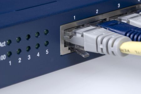 Close up detail of the basic connectivity which forms a computer network photo