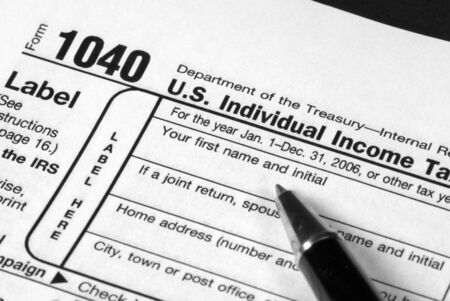cpa: Detail view of an Income Tax form about to be completed Stock Photo