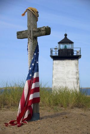 ma: Memorial at Long Point Lighthouse in Provincetown, Cape Cod, MA, USA Stock Photo