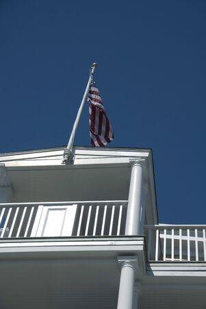 verandah: Detail of the verandah of a hotel in New England Stock Photo