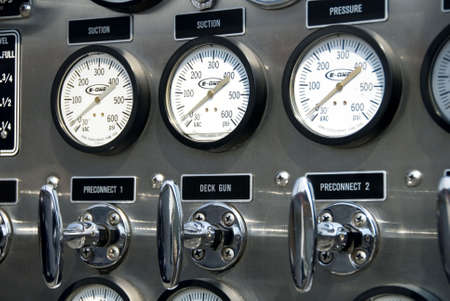 levers: Detail of gauges and levers on a fire truck