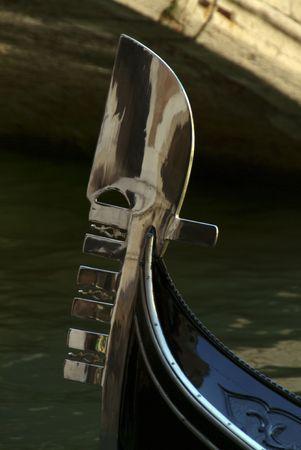 ferro: Detail of a gondola ferro in Venice