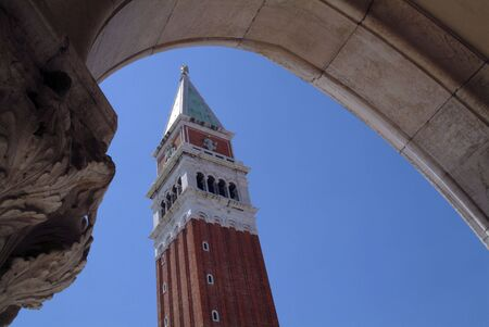 st marks square: View of the bell tower in St Marks Square Venice Stock Photo