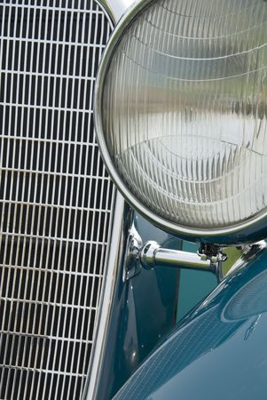 Close up detail of a classic Lincoln at a car show