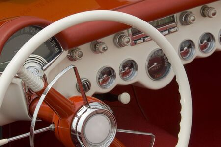 ammeter: Close up detail of a classic car at a car show